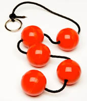 Красные анальные шары 5шт. из резины диаметра 45мм.