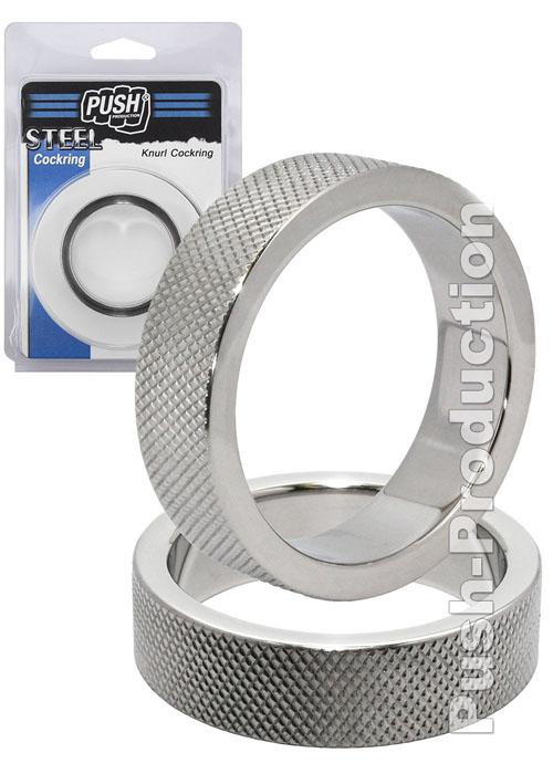 Стальное эрекционное кольцо на член и мошонку с накаткой