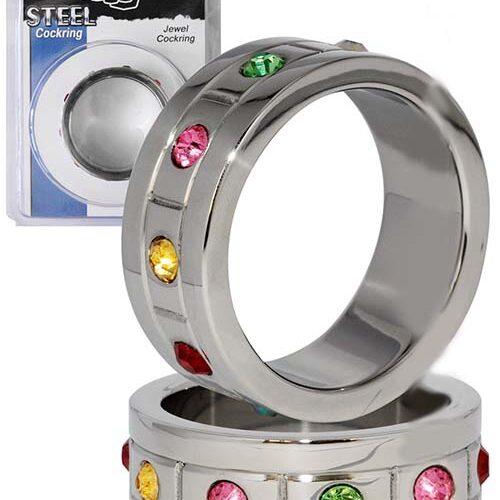 Эрекционное кольцо на член и мошонку с кристалами