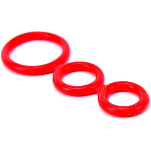 Красное силиконовое эрекционное кольцо (Cock Ring) на пенис и мошонку для мужчин