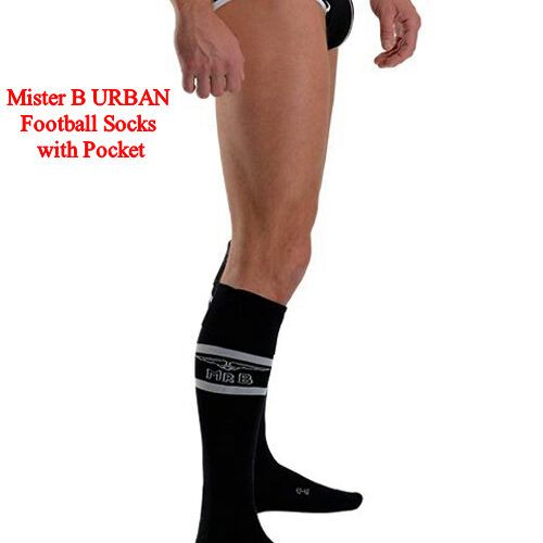 Mister B URBAN Football Socks with Pocket Black